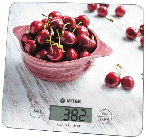 Весы кухонные Vitek VT-8002(W) рисунок 10 кг, стекло кухонные весы vitek vt 8025 mc