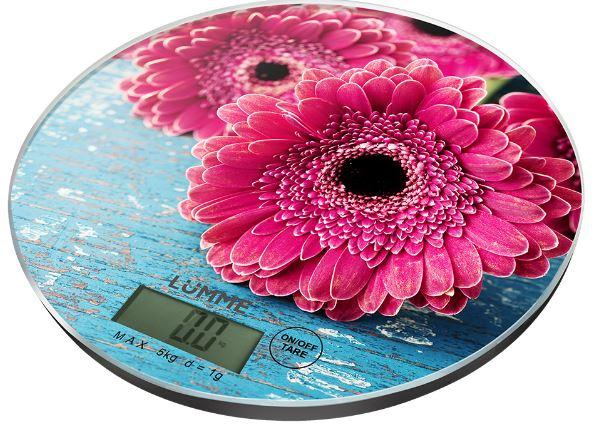 Кухонные весы LUMME LU-1341 розовая гербера цена и фото