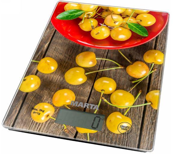 Кухонные весы MARTA MT-1634 желтая черешня весы кухонные salter 1046