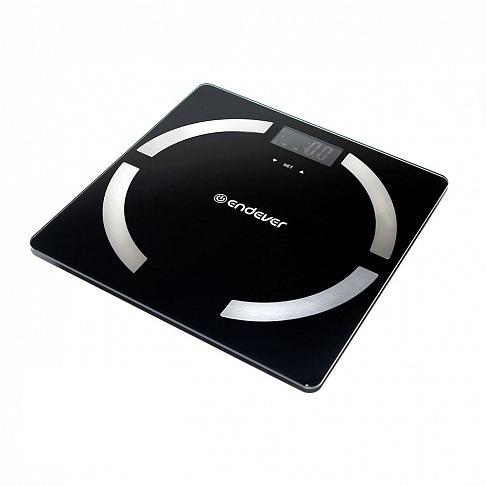 цена на Электронные напольные весы Endever Aurora-554 черный цвет материал закаленное стекло, весы-анализатор, максимальный вес 150 кг