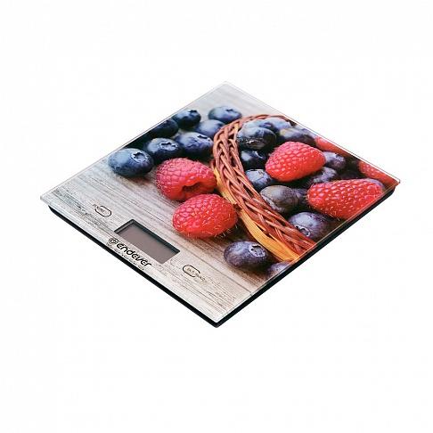 Весы кухонные электронные Endever Chief-502, рисунок Ягоды вес от 2 г до 5 кг, закаленное стекло, автовыключение цена и фото