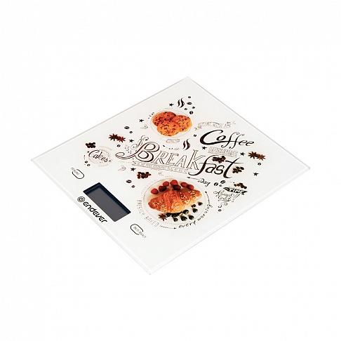 цена на Весы кухонные электронные Endever Chief-503, рисунок Завтрак вес от 2 г до 5 кг, закаленное стекло, автовыключение