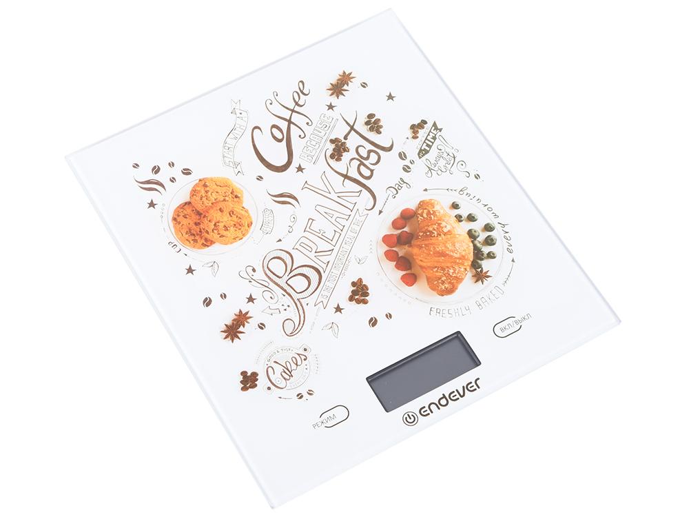 Весы кухонные электронные Endever Chief-503, рисунок Завтрак вес от 2 г до 5 кг, закаленное стекло, автовыключение фото