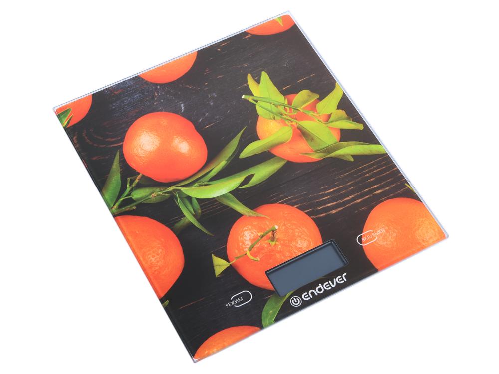 Весы кухонные электронные Endever Chief-504, рисунок Апельсины вес от 2 г до 5 кг, закаленное стекло, автовыключение