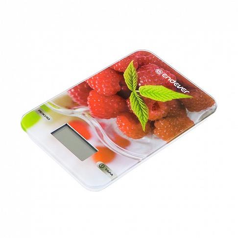 Весы кухонные электронные Endever Chief-506, рисунок Малина вес от 2 г до 5 кг, закаленное стекло, автовыключение цена и фото