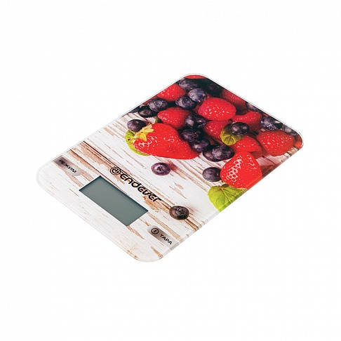 Весы кухонные электронные Endever Chief-508, рисунок Клубника вес от 2 г до 5 кг, закаленное стекло, автовыключение цена и фото