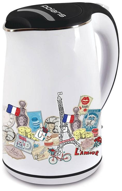 Фото - Чайник Polaris PWK 1742CWR Paris, 2200Вт, 1.7л, сталь, белый чайник электрический polaris pwk 1743c 1 7л 2200вт голубой