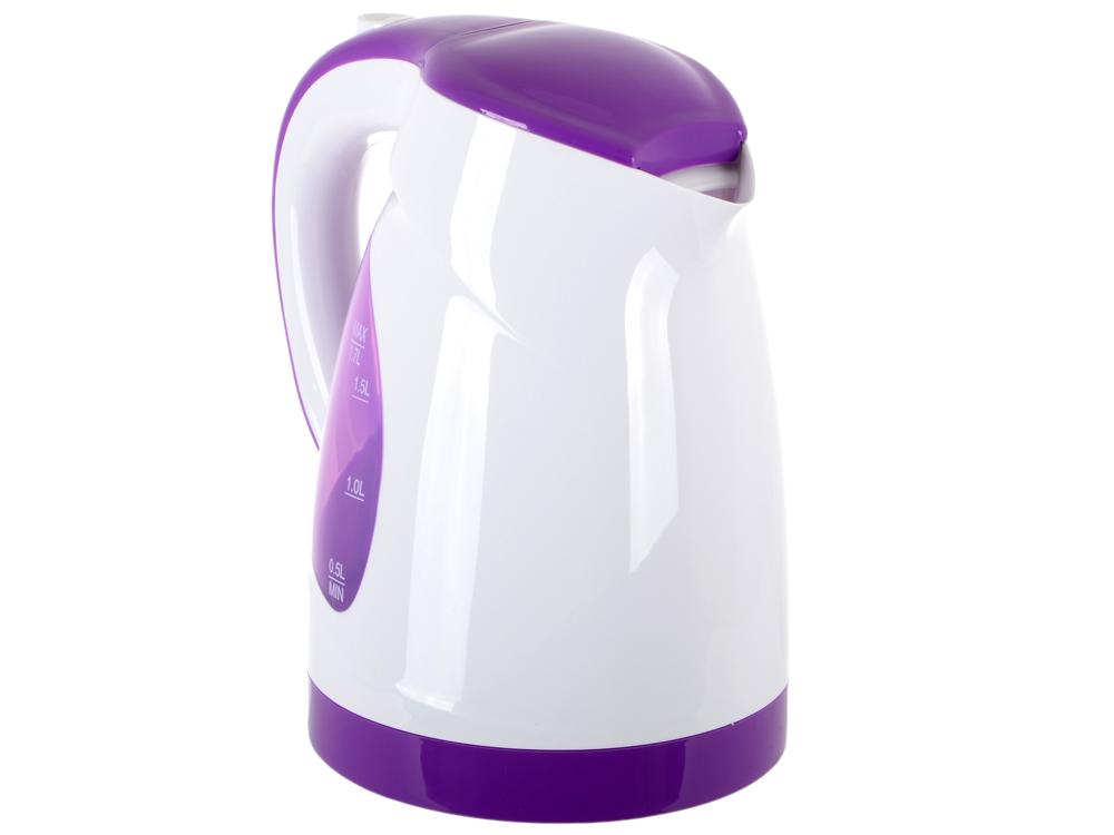Чайник BBK EK1700P, 2200Вт, 1.7л, пластик, белый/фиолетовый