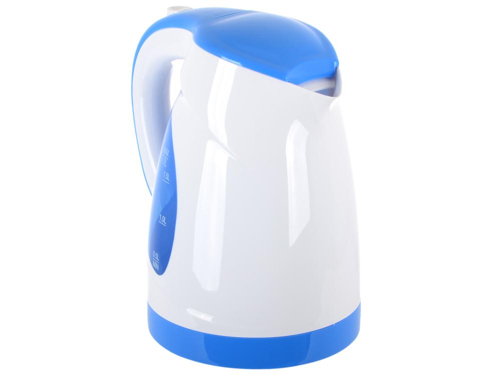 Чайник BBK EK1700P, 2200Вт, 1.7л, пластик, белый/голубой