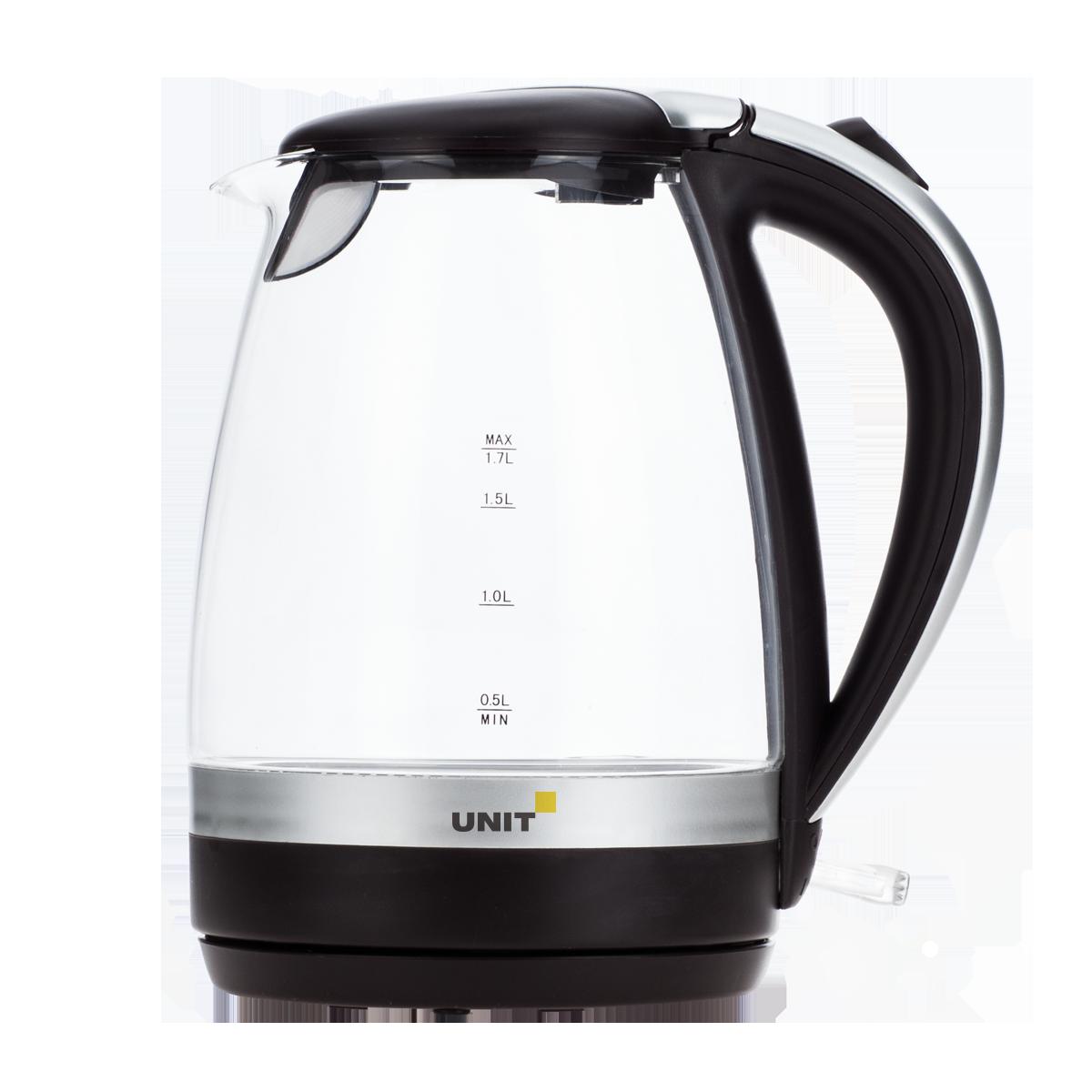 Фото - Чайник электрический UNIT UEK-254 (Черный); стекло, 1.7л., 2200Вт. чайник электрический unit uek 256 черный