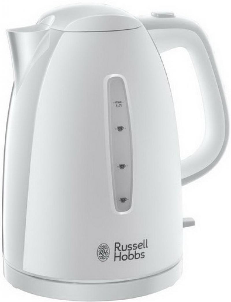 Чайник Russell Hobbs 21270-70 Textures White Kettle 2400 Вт белый 1.7 л пластик чайник russell hobbs colours plus flame red 2400 вт красный 1 7 л металл 204 12 70