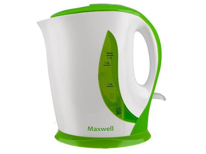 лучшая цена Чайник Maxwell MW-1062 (G) 2200 Вт 1.7 л пластик белый зелёный