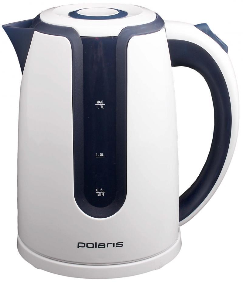 Чайник Polaris PWK 1754 CLWR 2200 Вт 1.7 л пластик белый синий чайник tefal ko 29913e 2200 вт 1 5 л пластик белый