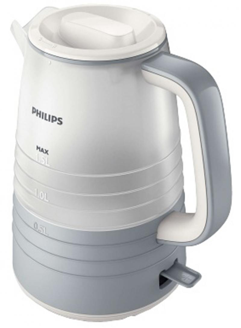 Чайник Philips HD9335/31 2200 Вт белый серый 1.5 л пластик чайник bbk ek1703p 2200 вт 1 7 л пластик белый металлик