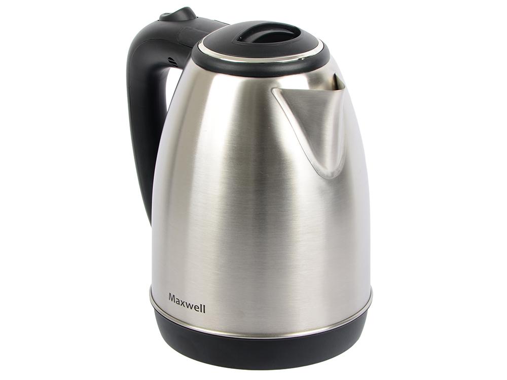 лучшая цена Чайник Maxwell MW-1082 (ST) серебристый/чёрный 1850 Вт, 1.8 л, металл/пластик