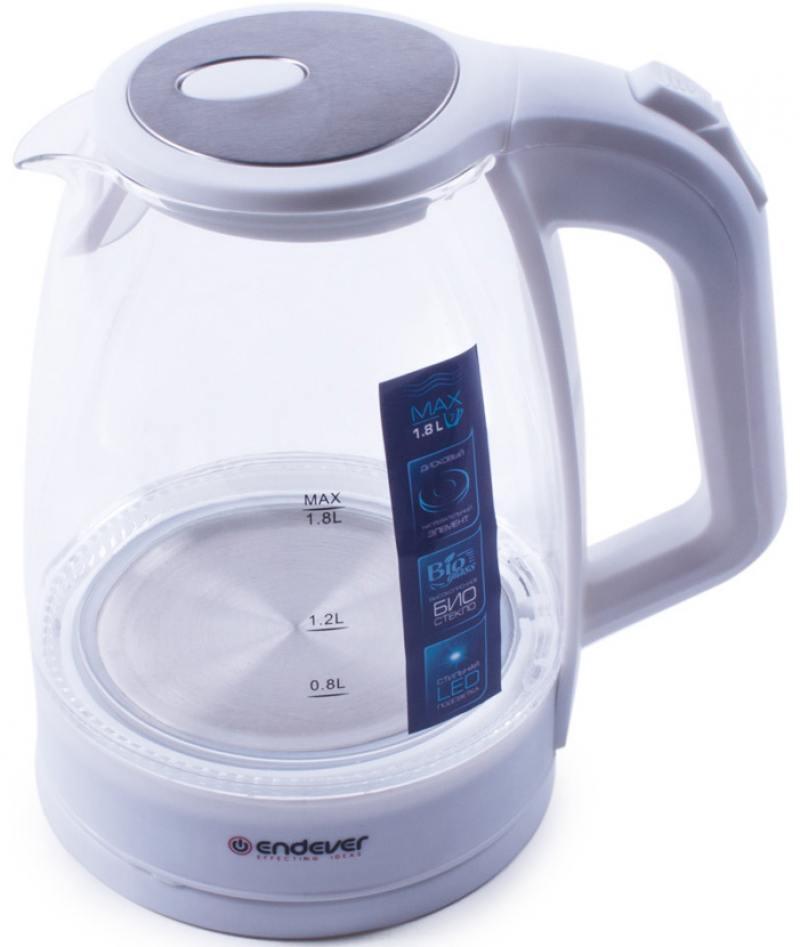 Чайник ENDEVER KR-325G 2200 Вт белый 1.8 л пластик/стекло чайник bbk ek1703p 2200 вт 1 7 л пластик белый металлик