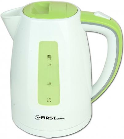 Чайник First FA-5427-7 White/Green 2200 Вт, 1.7 л, пластиковый, дисковый нагреватель чайник first fa 5427 6 white red 2200 вт 1 7 л пластиковый дисковый нагреватель