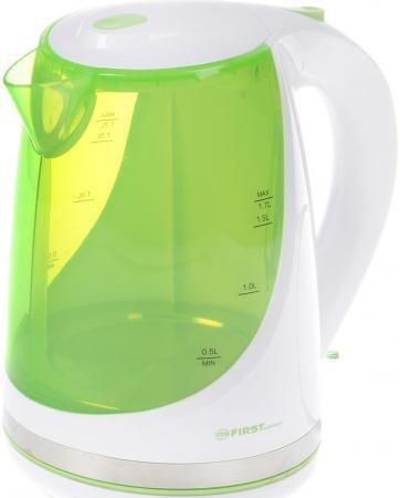 Чайник First FA-5427-8-GN белый/зеленый 2200 Вт, 1,7 л, пластиковый, дисковый нагреватель чайник first fa 5427 6 white red 2200 вт 1 7 л пластиковый дисковый нагреватель
