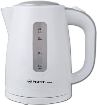 Чайник First FA-5426-4 белый-серый 2200 Вт, 1.7 л, пластиковый, дисковый нагреватель чайник first fa 5427 6 white red 2200 вт 1 7 л пластиковый дисковый нагреватель