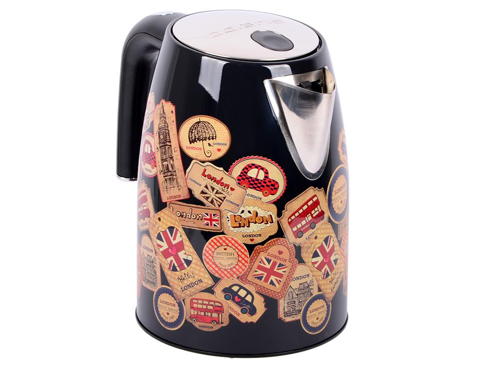 Чайник электрический Polaris PWK 1882CA London 1.8л. 2200Вт черный глянец/рисунок (корпус: пластик) цена и фото