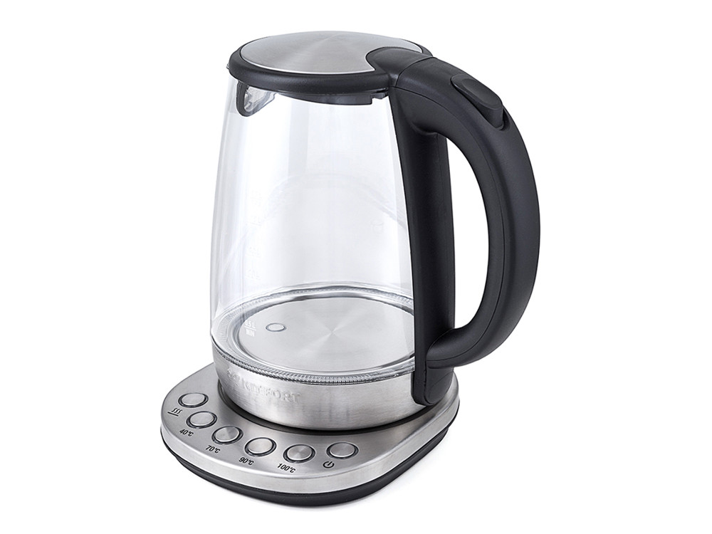 Чайник Kitfort KT-618 серебристый/черный 2000Вт, 1.5л, стекло