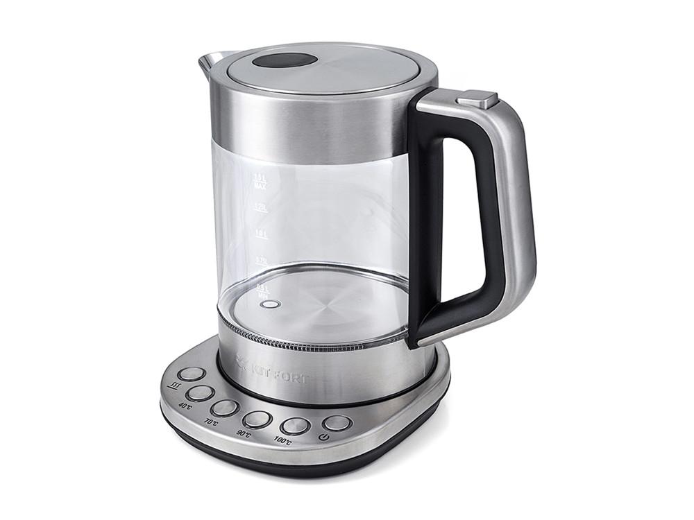 Чайник Kitfort KT-616, 1500Вт, 1.5л, стекло, серебристый/черный чайник kitfort kt 609