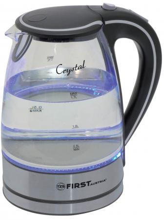 Чайник First FA-5406-2, 2200Вт, 1.7л, стекло, чёрный чайник first fa 5406 2200 вт чёрный 1 7 л пластик стекло