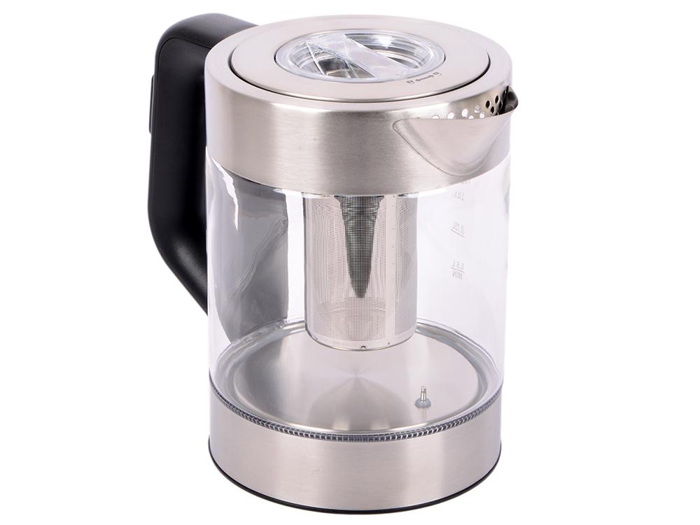 Чайник Kitfort KT-623, 2200Вт, 1.5л, стекло, серебристый чайник kitfort kt 609
