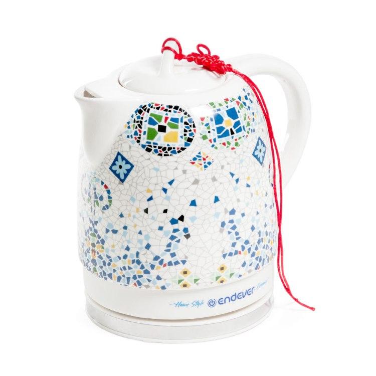Чайник Endever KR-420C белый/рисунок узор 1600Вт, 1.6л, керамический 430kr c керамический электрический чайник endever