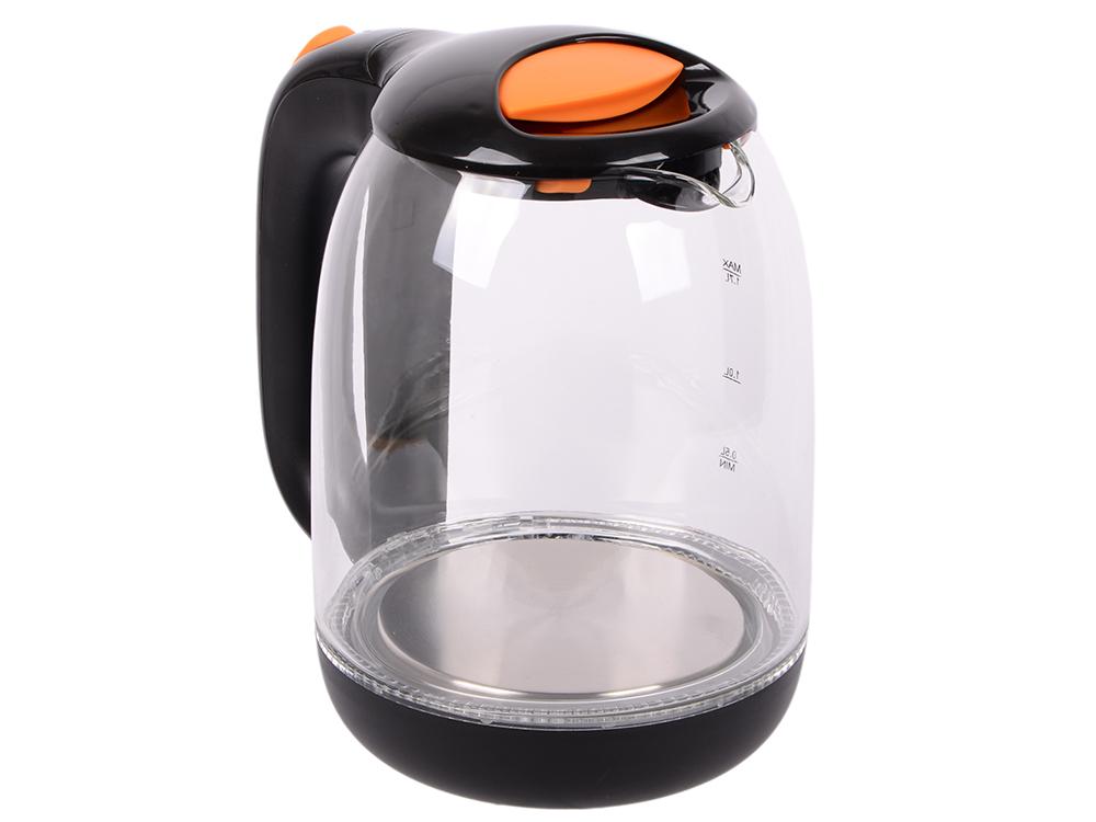 Чайник электрический Kitfort КТ-625-3 1.7л. 2200Вт черный/оранжевый (корпус: стекло)