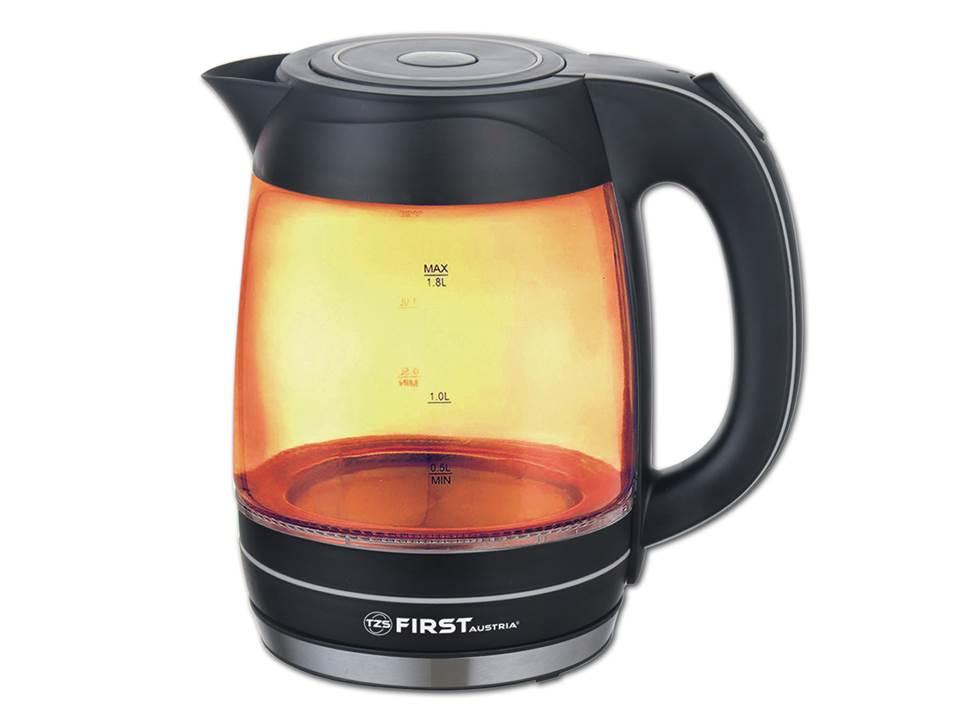 Чайник First FA-5405-3-OR оранжевый 2200 Вт, 1.8 л, корпус из цветного экологического стекла чайник first fa 5427 8 bu 2200 вт белый синий 1 7 л пластик