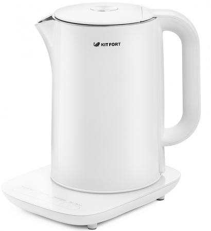 цена на Чайник Kitfort КТ-629-1 белый 1800 Вт 1,5 л