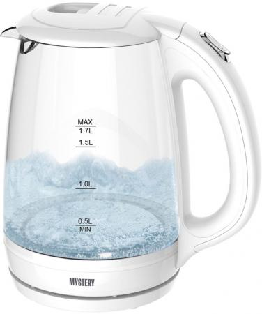 Чайник электрический MYSTERY MEK-1642 белый 1800 Вт, 1.7 л, стекло чайник электрический gipfel 2010 1л