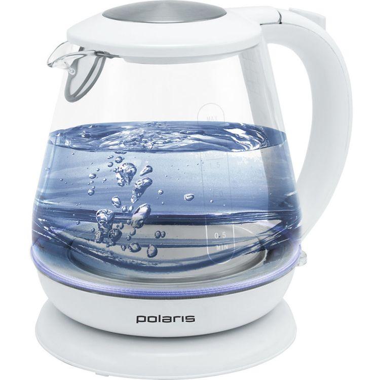 Чайник электрический Polaris PWK 1859CGL 1.8л. 2200Вт белый (корпус: стекло) чайник электрический supra kes 1726 2200вт белый и желтый