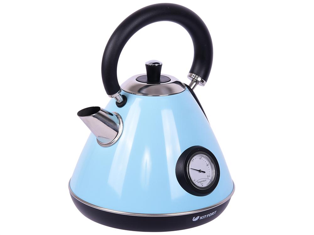 Фото - Чайник Kitfort КТ-644-1 голубой 2200 Вт, 1.7 л чайник kitfort kt 642 1 розовый 2200 вт 1 7 л