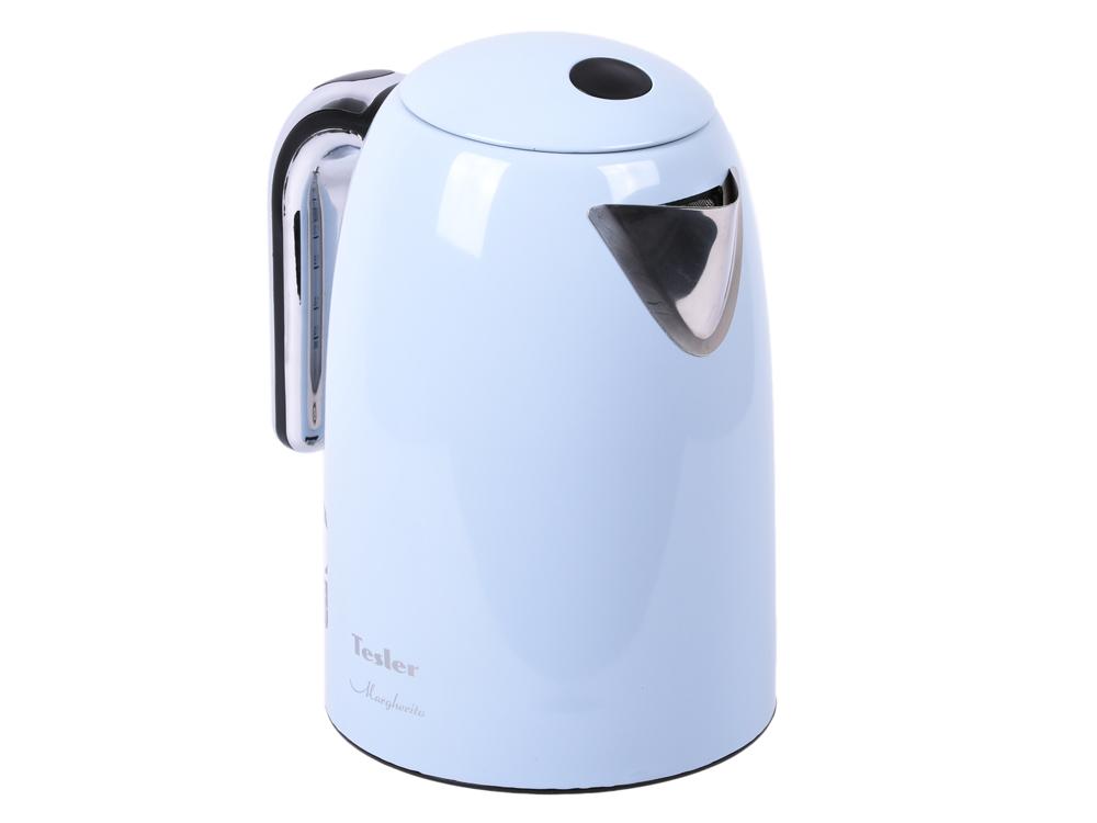 Чайник Tesler KT-1755 Sky Blue, голубой 2000 Вт, 1,7 л, нерж. сталь чайник электрический tesler kt 1755 sky blue