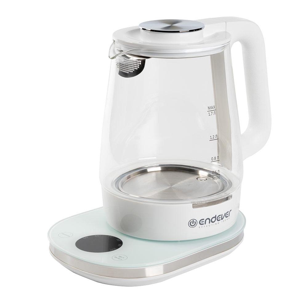 лучшая цена Чайник электрический Endever Skyline KR-335G White 1800 Вт, 1.7 л, стекло
