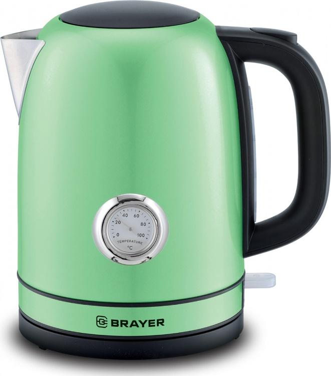 Чайник электрический  BRAYER 1005BR-GN 2150Вт.1,7 л, STRIX, сталь окраш, термометр, зелен.