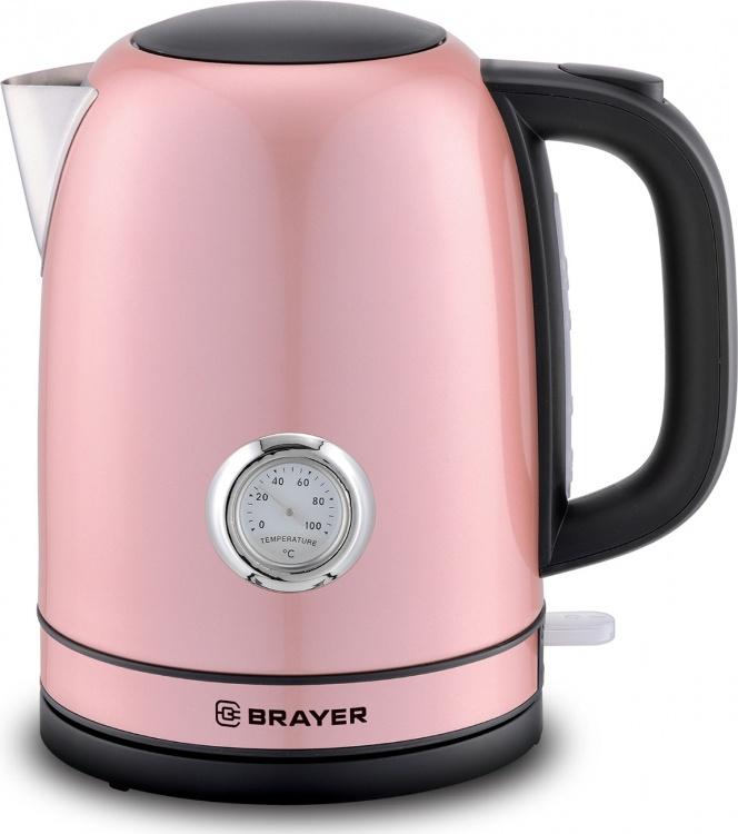 Чайник электрический  BRAYER 1005BR-PK 2150Вт.1,7 л, STRIX, сталь окраш, термометр,роз.