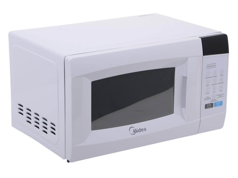 Микроволновая печь MIDEA EM720CKE мощность 700Вт, объем 20л, внутреннее покрытие- эмаль, блокировка от детей, цвет- белый микроволновая печь midea eg823aee белый