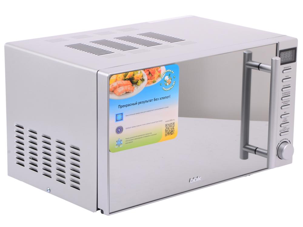 лучшая цена Микроволновая печь BBK 20MWS-721T/BS-M, соло, 20л, эл. управ, 700Вт, черный/серебристый
