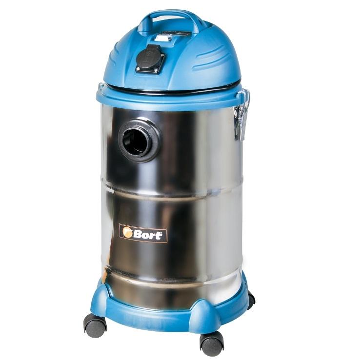 Пылесос Bort BSS-1530N-Pro Серебристый/синий 1400 Вт, мешок/контейнер, 30 л
