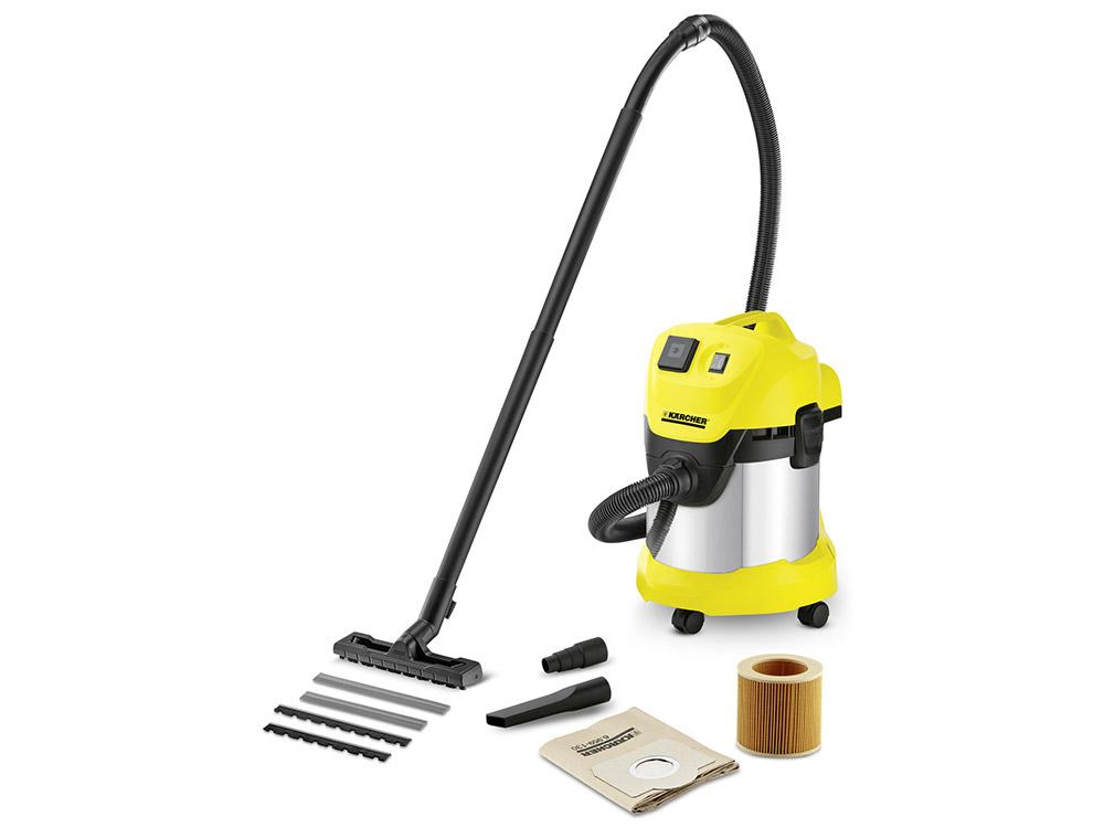 Пылесос Karcher WD 3 P Premium EU-I, сухая/влажная уборка, 1000/200Вт, мешок/циклонный фильтр, розетка для эл.инструмента, набор насадок пылесос karcher wd 2 eu i