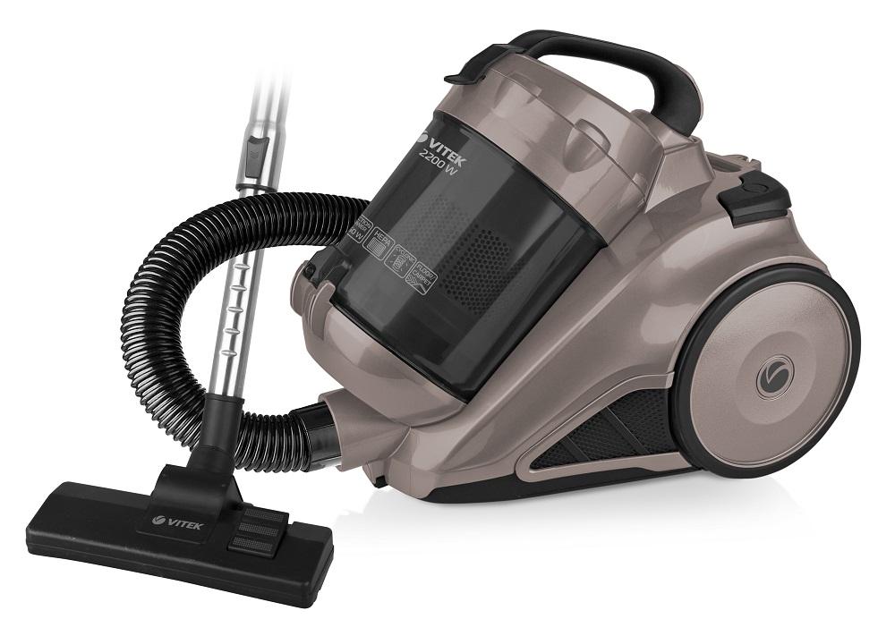 Пылесос Vitek VT-8109 BN Коричневый 2200 Вт, циклонный фильтр, 3 л цена и фото