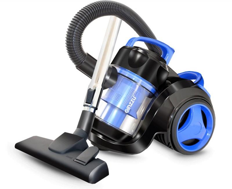 цена на Пылесос Ginzzu VS420, 1700/275 Вт, без мешка, циклонный фильтр, чёрный/синий