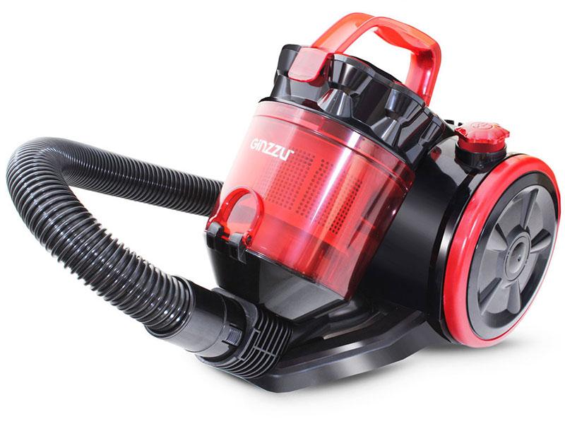 Пылесос Ginzzu VS424 1600/300Вт, без мешка, черный/красный цена и фото