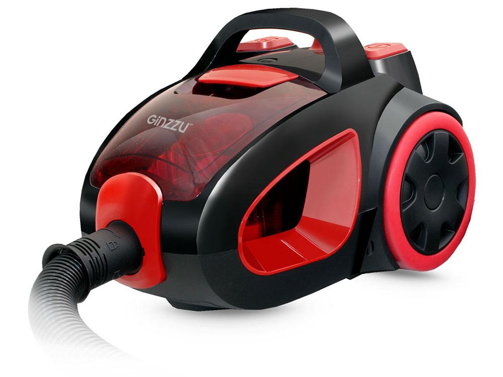 лучшая цена Пылесос Ginzzu VS437 Черный/красный 2000 Вт, циклонный фильтр, 2,5 л, 72 дБ