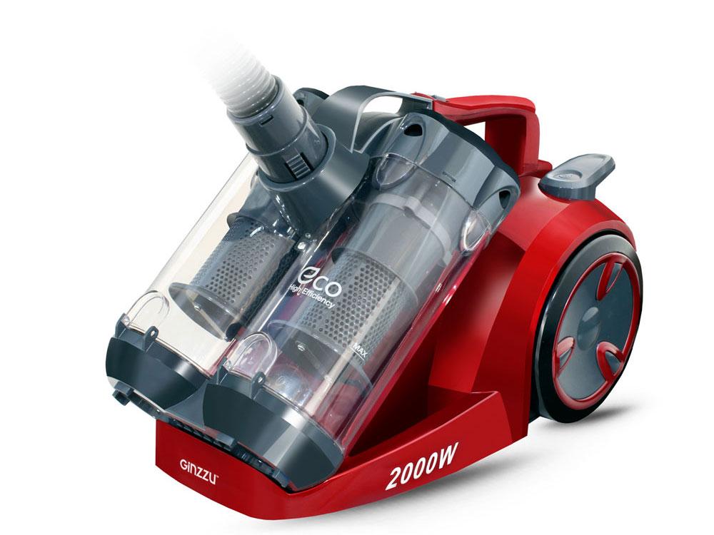 лучшая цена Пылесос Ginzzu VS439, 2000/410Вт, без мешка, серый/красный