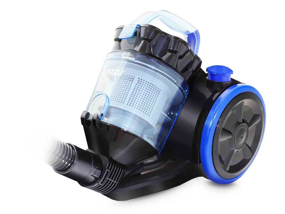 Пылесос Ginzzu VS424, 1600/300Вт, без мешка, черный/синий пылесос lumme lu 3206 2200 300вт без мешка черный синий