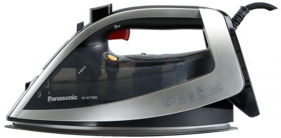 Утюг Panasonic NI-WT980LTW, 2800Вт, керамич. подошва, вертикал. отпаривание, защита от накипи, самоочистка, разбрызгивание, вес 1.8 кг, черный/серебро цена